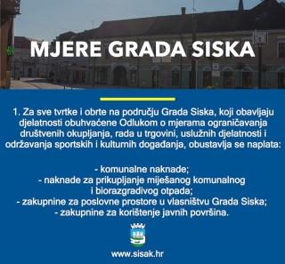 Mjere Grada Siska za pomoć građanima i poduzećima