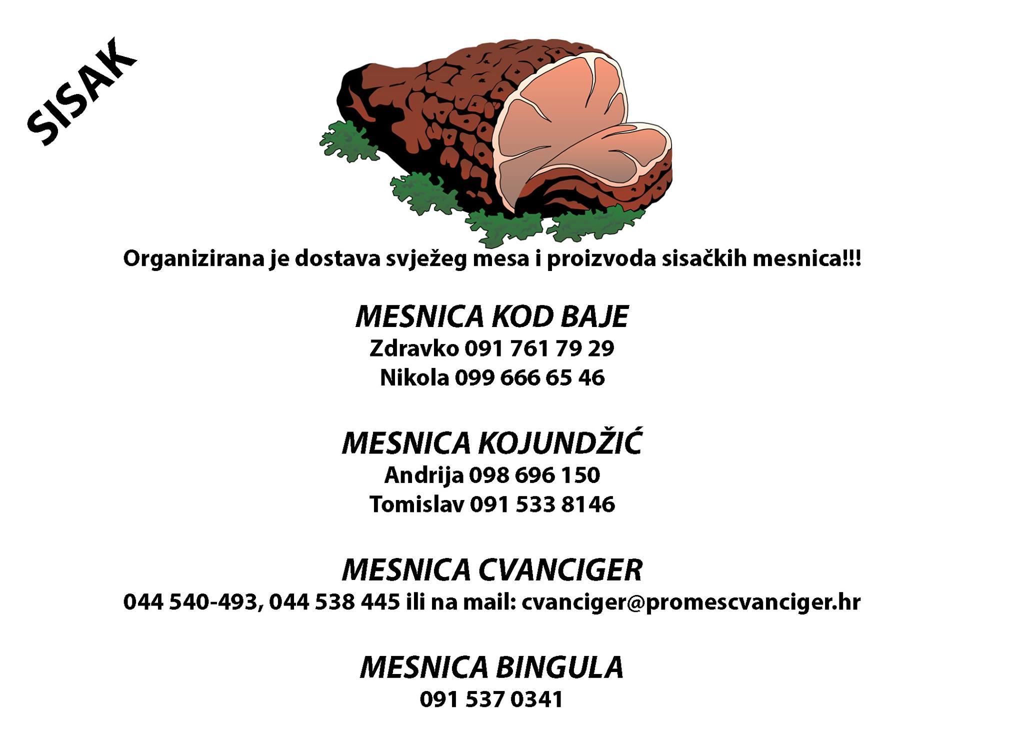 Organizirana je dostava svježeg mesa i proizvoda sisačkih mesnica!!!